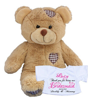 Personalised Teddy Bear Rabbit Bridesmaid Wedding Thank You Maid of Honour