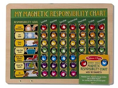NEW Melissa and Doug Magnetic Responsibility Chart - Wooden Chores Record Board