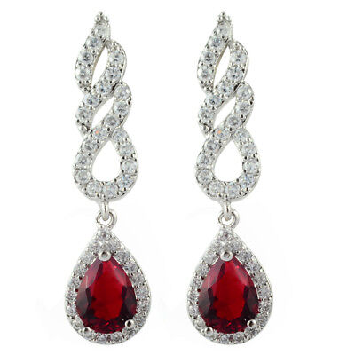 Rhinestone 18K White Gold Plated Zirconia Pear Red Ruby Drop Dangle Earrings