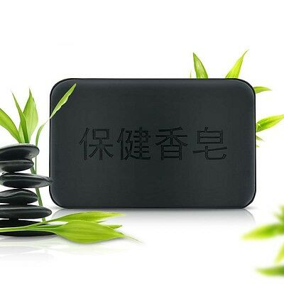 Black Bamboo Charcoal Soap Face Body Clear Anti Bacterial Tourmaline Soap 1x