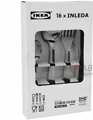 IKEA Inleda 16 Piece Stainless Steel Kitchen Cutlery Set Knives, Forks, Spoons