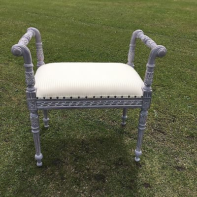 Roll Arm Carved Stool Painted Grey With Cream Stripe Fabric