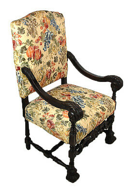 Antique Heavily Carved Gothic Throne Hall Chair w Scroll Arms