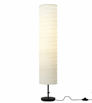 IKEA Holmo Tall White Floor Lamp Up Lighter Reading Light Black Base Paper Shade