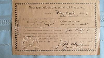 1899 Silver Plume Colorado Clear Creek Lodge Knights Of Pythias Vacancy Document