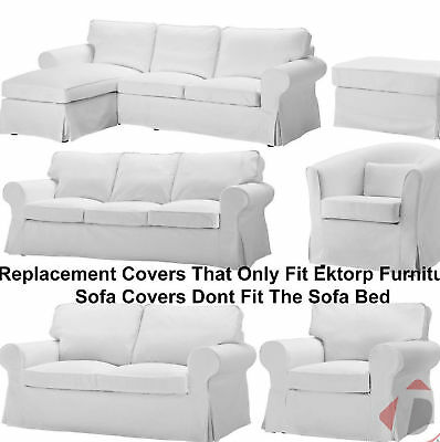 New IKEA Ektorp Replacement Sofa / Footstool / Chair Slipcovers Blekinge White
