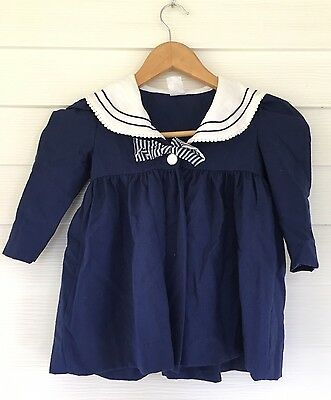 Vintage Baby Girls Navy Blue White Sailor Nautical Swing Jacket Stripe Bow 2T