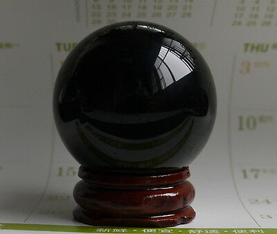 40MM+stand- Natural Black Obsidian Sphere Large Crystal Ball Healing Stone A