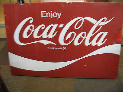 """Vintage Metal 54""""X 36"""" Red White Enjoy Coca Cola Advertising Store-front  Sign!"""