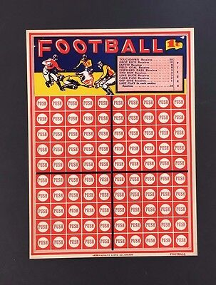 c1940 Football Game 1 Cent Betting Punch Push Board NFL Vintage Gambling USA