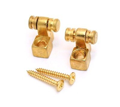 New Pair (2) Gold Replacement Roller String Trees For Fender Strat Or Tele