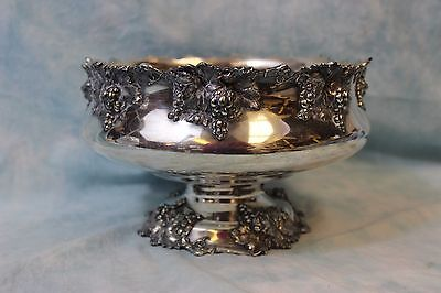 """Antique 6"""" Grape bowl pedestal foot Silver plated 29"""" Circumference 1900-1910"""