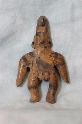 """4-1/2""""X 2-3/4"""" Pre Columbian Red clay male figure Black paint bands Pierced ears"""