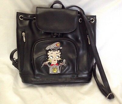 BETTY BOOP Biker Back Pack Purse Bag Black Motorcycle Animation Character