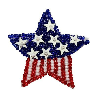 de877046a7c ID 8859 American Flag Star Patch Patriotic Symbol Craft Beaded Iron On  Applique