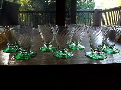"(7) small 2-3/4"" footed tumblers shot glass green base clear optic Tiffin 15011"