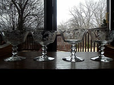 """SET (4) Champagne Low Sherbet 4"""" Glasses Crystal HEISEY needle etch 5025 Orchid"""