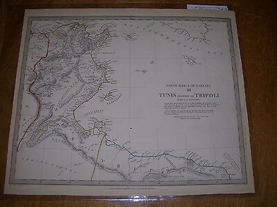 """1836 Map TUNIS And Part Of Tripoli North Africa Barbary SDUK 13x16"""" """"Fine"""""""