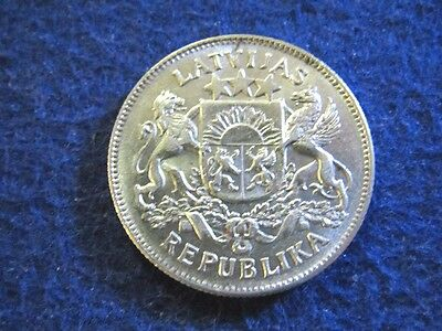1925 Latvia Silver 2 Lati - Bright About Uncirculated - Free U S Shipping