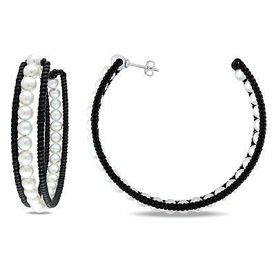 Amour Pearl and Leather Hoop Earrings