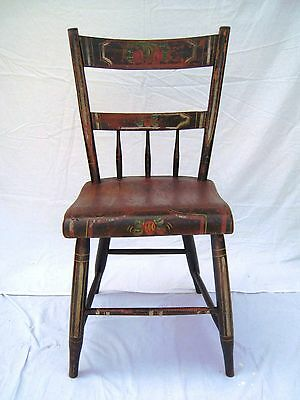 Antique Plank Bottomed Hand Painted Kitchen Chair - Central Pennsylvania style