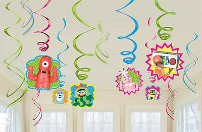 YO GABBA GABBA HANGING SWIRL DECORATIONS (12) ~ Birthday Party Supplies Cutouts