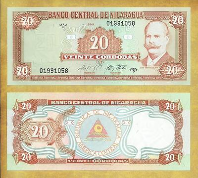 Nicaragua 20 Cordobas 1999 Serie D P-189 Unc Currency Banknote ***USA SELLER***