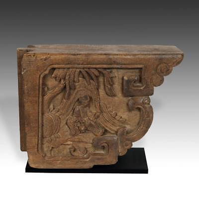 Lot Of 2 Antique Chinese Carved Wood Corbel Iron Based Architectural 19Th C