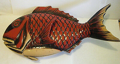"""12"""" VTG 1920s RED LACQUER ON WOOD HAND MADE JAPANESE KOI FISH COVERED DISH BOX"""