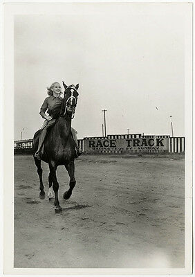 1940s Pin-Up Girl Betty Grable Race Track Horseback Riding Photograph Vintage