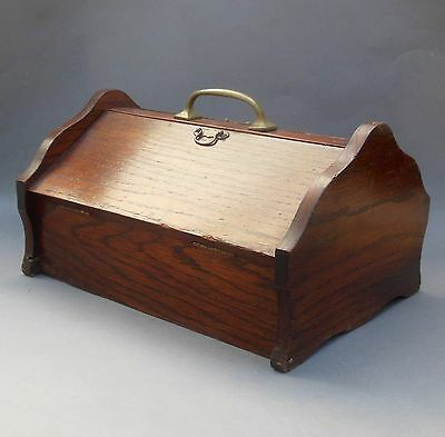 English 1920's Vintage Oak Cutlery Box ~ Covered Butlers Tray with Lid & Handle