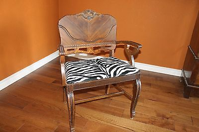 Antique Wood Zebra Chair with Decorative Carvings One of A Kind