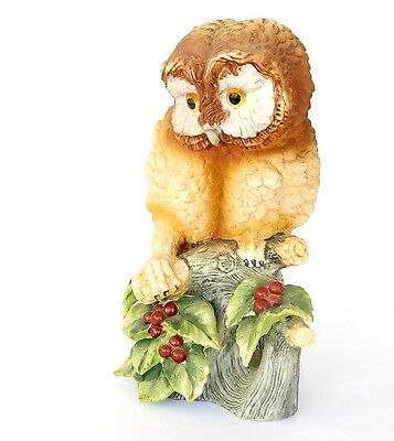 "Vintage Figurine Andrea by Sadek ""Elf Owl""  Holly Berries 8 1/4"" Figurine Japan"