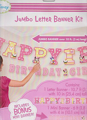 MINNIE MOUSE 1st BIRTHDAY JUMBO LETTER BANNER KIT Party Supplies Decoration