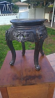 Chinese Table Small Carved Wood Taboret