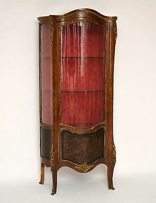 Antique French Ormolu Brass Inlaid Display Cabinet