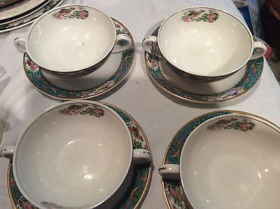 4 Vintage W. H. Grindley Peacock Cream Soups and Underplates 8 pieces