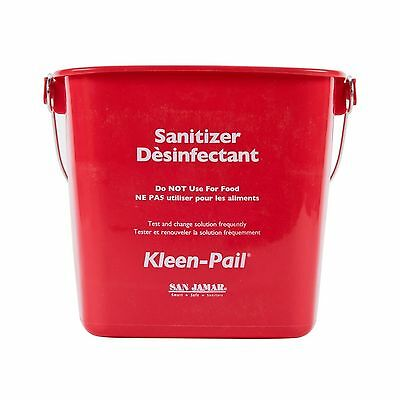 "San Jamar KP256RD ""Sanitizing Solution"" Kleen-Pail 8 Quart Plastic Red 1/EA"