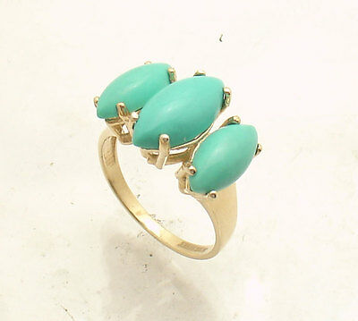Size 8.5 Technibond Genuine Turquoise Gemstone Ring 14K Yellow Gold Clad Silver