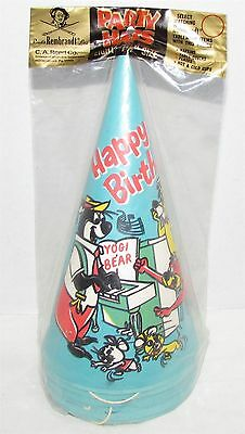 1969 Hanna-Barbera Birthday Party Hats Yogi Bear, Huckleberry Hound MIP
