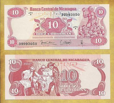 Nicaragua 10 Cordobas 1979 Serie E P-134 Unc Currency Banknote ***USA SELLER***