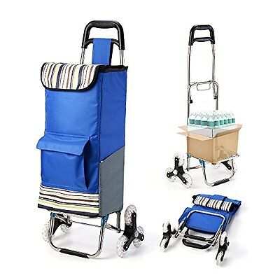 Folding Shopping Cart Stair Climbing Grocery Laundry Utility with Wheel Bearings