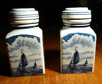 Delft Blauw Hand Painted Dutch Containers Ceramic Set of 2