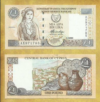 Cyprus 1 Pound 2004 Prefix AX P-60d Unc Currency Note ***USA SELLER***