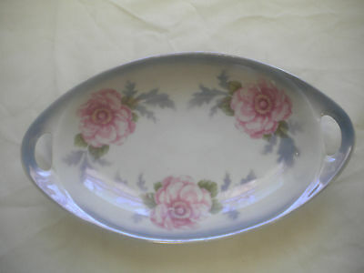 PK Unity Germany Blue w/Pink Floral Snack Celery Relish Nappy Serving Dish