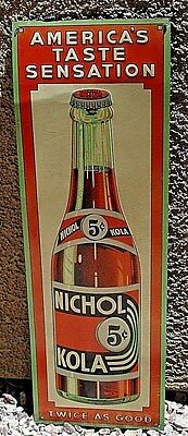 1930's Nichol Kola Embossed & Lithographed Tin Advertising Sign VINTAGE