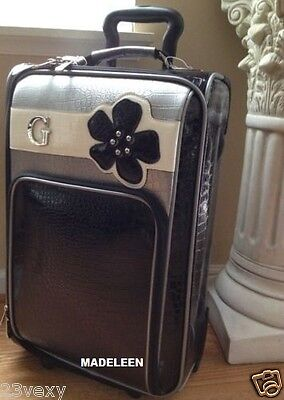 NEW GUESS 21 Multi-color Black Gray Pearl Flower Travel Rolling Suitcase Luggage