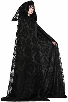 Witch Wizard Midnight Black Cloak Cape ADULT Womens Mens Costume NEW One Size