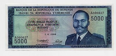 Rare: Burundi 5000 Francs banknote, 1968 ( Pick 26 Or B 213) UNC condition