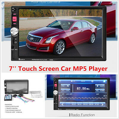 """7"""" Touch Screen 2DIN HD Car Bluetooth Audio Stereo Radio Video MP5 Player FM AUX"""